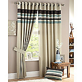 Curtina Harvard Eyelet Lined Curtains 90x108 inches (228x274 cm) - Duck Egg Blue