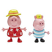Peppa Pig Holiday Figure Double Pack - Peppa & George with Sun Hats