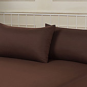 Brentfords Plain Dye Pillowcase, Pair - Chocolate