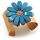 Wide Floral Hammered Gold Tone Cuff Bangle (Light Blue)