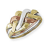 Jewelco London 9ct White, Rose & Yellow Gold - Four-Row Puzzle Ring -