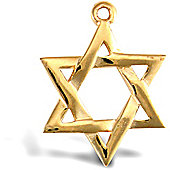 Jewelco London 9ct Solid Gold light weight Star of David Pendant with barked reverse