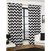 Chloe Ready Made Curtains Pair, 66 x 54 Black Colour, Modern Designer Look Eyelet curtains