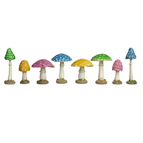 buy set of eight colourful resin mushroom toadstool garden. Black Bedroom Furniture Sets. Home Design Ideas