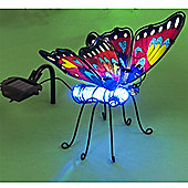 Garden Glows Solar Powered Colour Changing Purple & Red Glass Butterfly Light