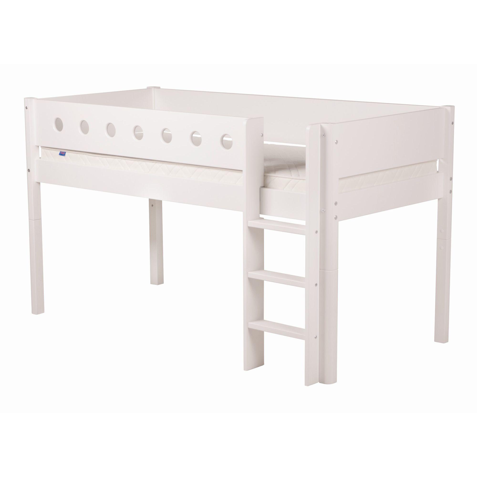 Flexa White Midsleeper Bed - White - White at Tesco Direct