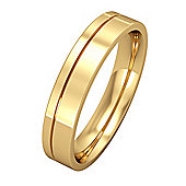 Jewelco London 18ct Yellow Gold - 4mm Essential Flat-Court with Fine Groove Band Commitment / Wedding Ring -