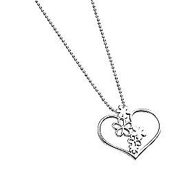 Silver Floral Open Heart Pendant