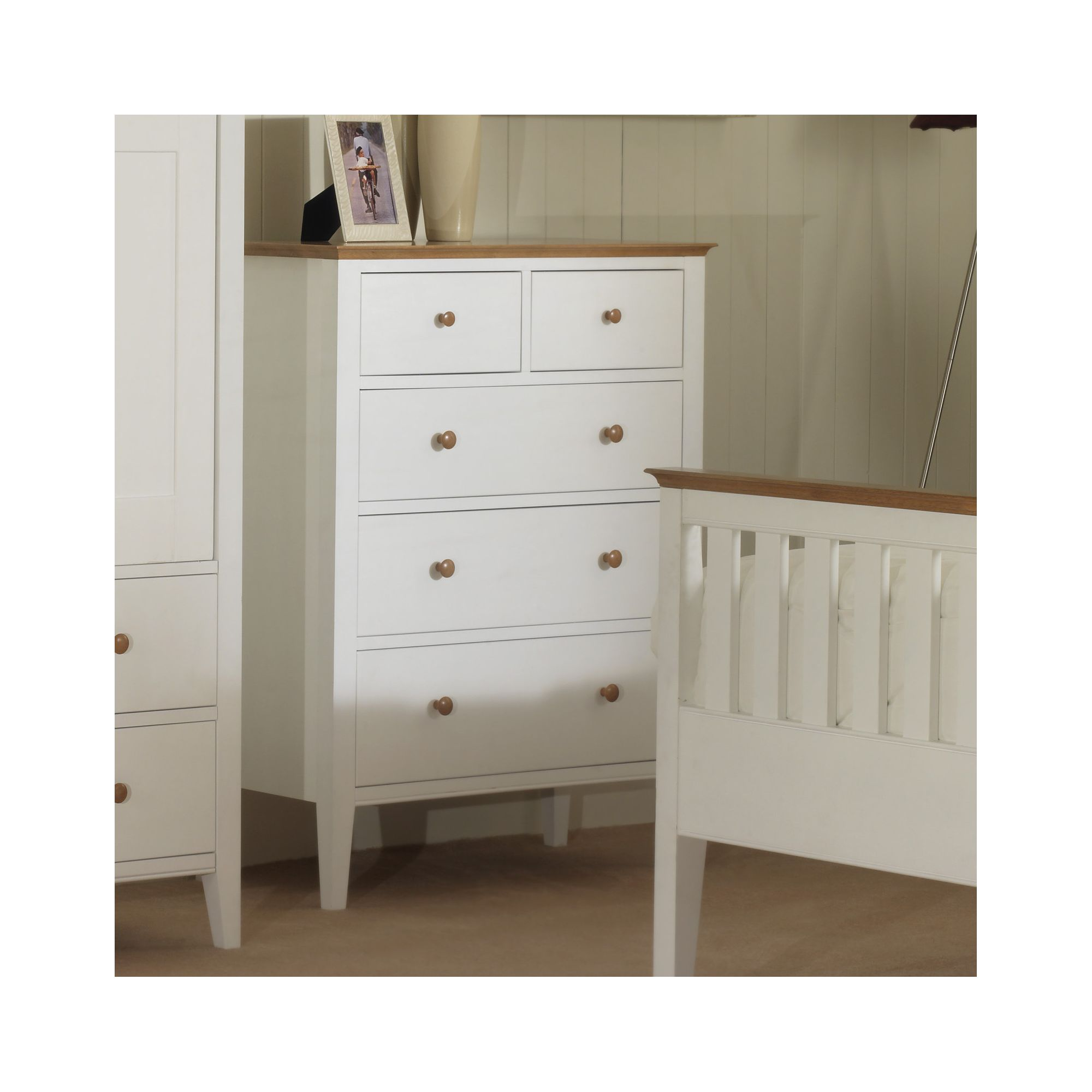 Serene Furnishings Grace 5 Drawer Chest - Golden Cherry with Opal White at Tesco Direct