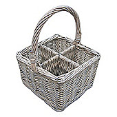 Wicker Valley Willow Cutlery and Glass Basket in White