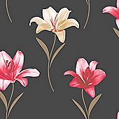 Muriva Lillia Wallpaper - Black