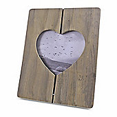 "Large Rustic Dark Wooden Heart Cut Out Photo Frame A4 or 11 x 8"" Size"
