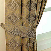 Homescapes Gold Jacquard Tie Back Pair Abstract Aztec Design