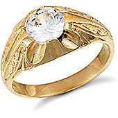 Jewelco London 9ct Solid Gold men's CZ set solitaire Ring
