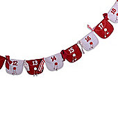Red & White Christmas Advent Calendar Washing Line With Numbered Envelopes