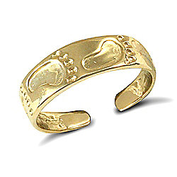 Jewelco London 9ct Solid Gold flat Toe Ring with carved foot print pattern
