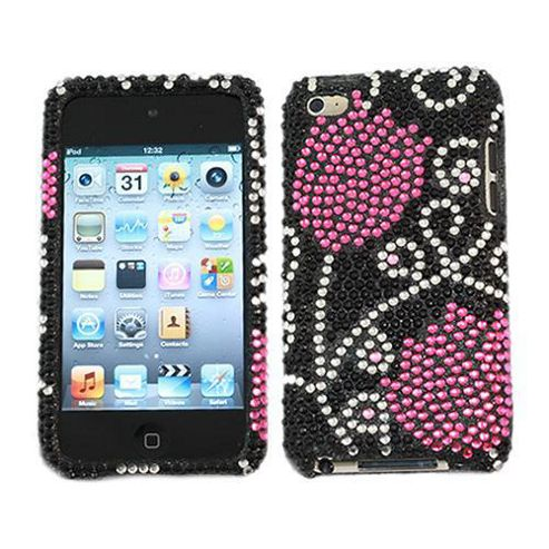 iTALKonline Screen Protector and Premium FunkGem Tulips In Love 2 Part Case Black/Pink - For Apple iPod Touch 4
