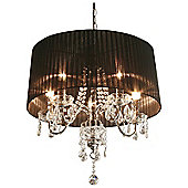 Home Essence Beaumont Five Light Chandelier in Chrome - Black