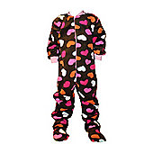 Brown with Pink Hearts Kids Onesie (Large)
