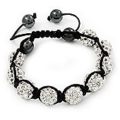 Unisex Clear Swarovski Crystal Balls & Smooth Round Hematite Beads Shamballa Bracelet - 12mm - Adjustable