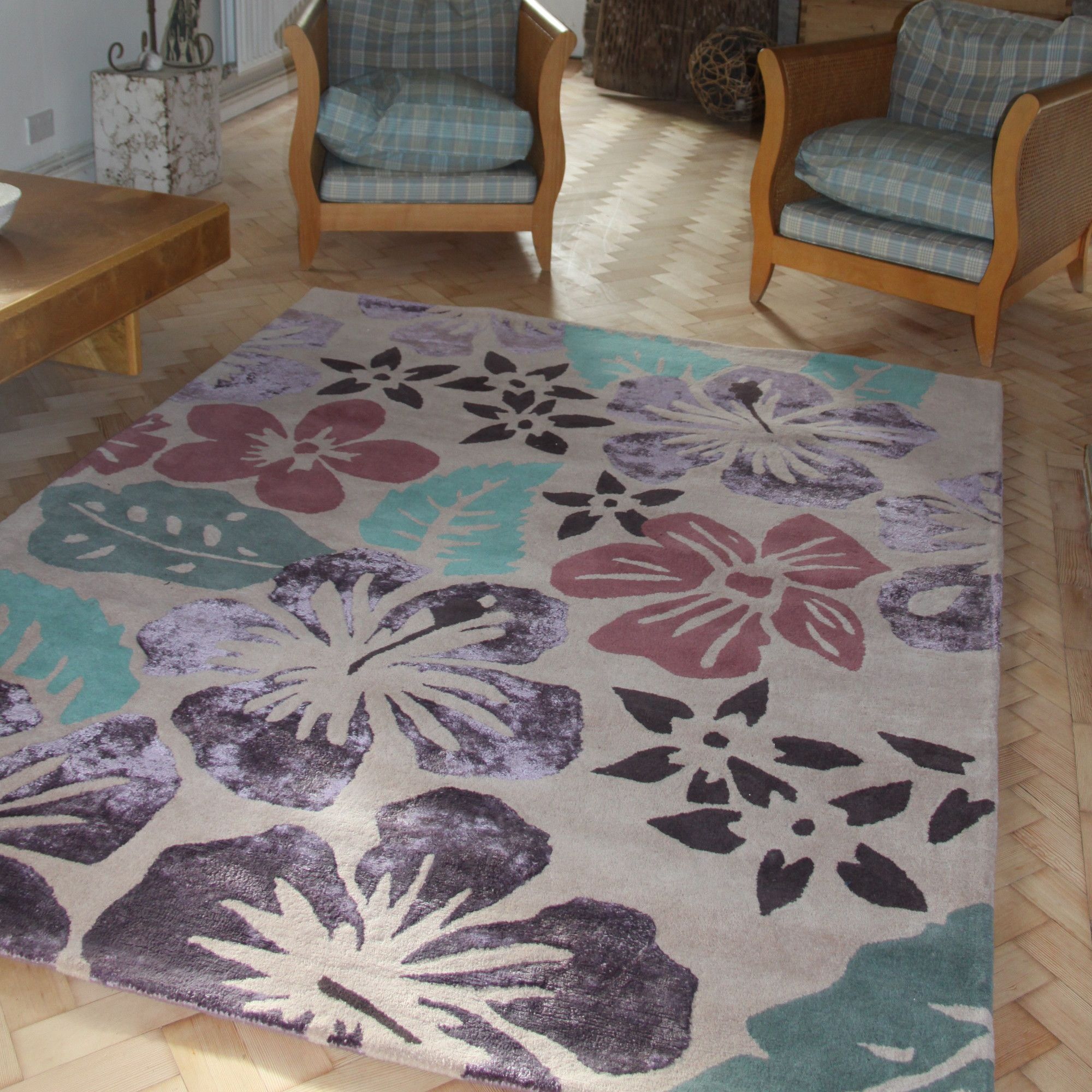 Anna V Rugs Hibiscus Contemporary Rectangular Rug - 180cm x 240cm at Tesco Direct