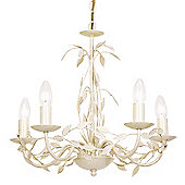 Endon Lighting 5 Light Chandelier in Cream Gold with Leaf Detail