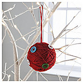 Gisela Graham Wool Ball Hanging Decoration, Red