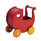 Moover Wooden Mini Dolls Pram (Cherry Red)
