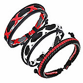 Urban Male Set of Three Genuine Black, Red & White Leather Surfer Style Bracelets