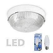 Arnside IP44 LED Bathroom Bulkhead Light in Gloss White with Warm White Candle Bulb