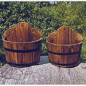Barrel - Wood Garden Wall Flower Planter / Pot - Set Of 2 - Burntwood