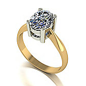 18ct Gold 9x7 Oval Moissanite Single Stone Ring
