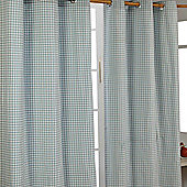 Homescapes Cotton Gingham Check Blue Ready Made Eyelet Curtains, 137 x 182 cm