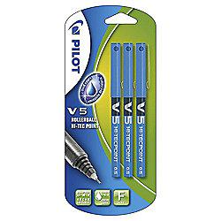 Pilot V5 Fine Needlepoint Rollerball Pens, Blue, 3 Pack