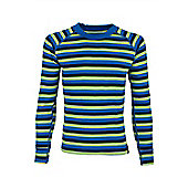 Merino Striped Kids Round Neck Top - Blue