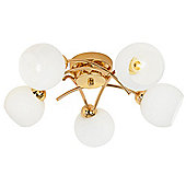 Simplistic Polished Gold Ceiling Light Fitting with 5 Glass Shades