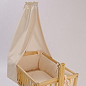 Clair de Lune Cot Bed Freestanding L Drape & Rod (Dimple Cream)