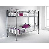Happy Beds Capri 3ft Silver Metal Bunk Bed 2x Memory Foam Mattress
