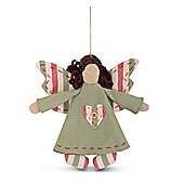Green Hanging Fabric Christmas Angel Tree Decoration with Heart & Button Design