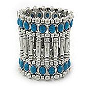 Vintage Wide Turquoise Bead Flex Bracelet In Silver Plating - 19cm Wrist/ 75mm Width