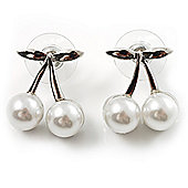 Snow White Imitation Pearl Cherry Stud Earrings (Silver Tone)