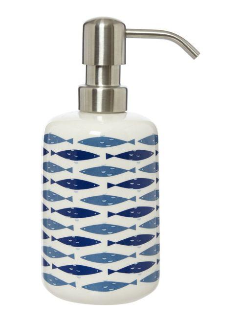 Linea ceramic striped tumbler for Fish soap dispenser