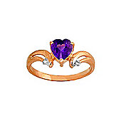 QP Jewellers Diamond & Amethyst Affection Heart Ring in 14K Rose Gold