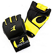 Bruce Lee Signature MMA Grappling Gloves Synthetic Leather - Yellow