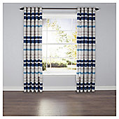 Ombre Stripe Lined Eyelet Curtains - Blue