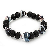 Black/White Heart & Faceted Bead Flex Bracelet - 18cm Length