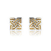 Jewelco London 9ct White and Yellow Gold - Stud - Earrings - Ladies