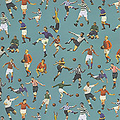 Gift Wrap - Blue Footballers