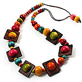 Multicoloured Square Wood Bead Cotton Cord Necklace - 76cm