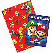 Gem Super Mario Wrapping Paper, Birthday Card and Gift Tags Pack